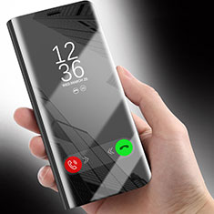Coque Portefeuille Livre Cuir Miroir Housse Etui Clapet pour Huawei Honor 10 Lite Noir