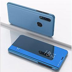 Coque Portefeuille Livre Cuir Miroir Housse Etui Clapet pour Huawei Honor 20 Lite Bleu