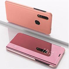 Coque Portefeuille Livre Cuir Miroir Housse Etui Clapet pour Huawei Honor 20 Lite Or Rose