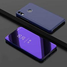 Coque Portefeuille Livre Cuir Miroir Housse Etui Clapet pour Huawei Honor 8X Bleu