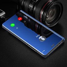 Coque Portefeuille Livre Cuir Miroir Housse Etui Clapet pour Huawei Honor View 30 5G Bleu
