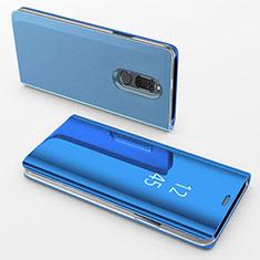 Coque Portefeuille Livre Cuir Miroir Housse Etui Clapet pour Huawei Mate 10 Lite Bleu