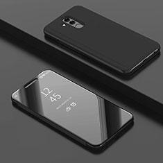 Coque Portefeuille Livre Cuir Miroir Housse Etui Clapet pour Huawei Mate 20 Lite Noir