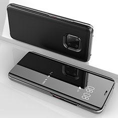 Coque Portefeuille Livre Cuir Miroir Housse Etui Clapet pour Huawei Mate 20 Pro Noir