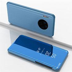 Coque Portefeuille Livre Cuir Miroir Housse Etui Clapet pour Huawei Mate 30 5G Bleu