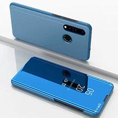 Coque Portefeuille Livre Cuir Miroir Housse Etui Clapet pour Huawei Nova 4e Bleu