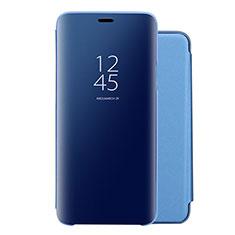 Coque Portefeuille Livre Cuir Miroir Housse Etui Clapet pour Huawei Nova 5 Pro Bleu