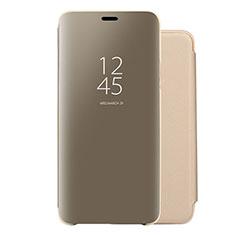 Coque Portefeuille Livre Cuir Miroir Housse Etui Clapet pour Huawei Nova 5 Pro Or
