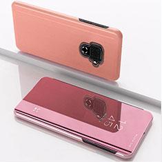 Coque Portefeuille Livre Cuir Miroir Housse Etui Clapet pour Huawei Nova 5i Pro Or Rose