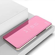 Coque Portefeuille Livre Cuir Miroir Housse Etui Clapet pour Huawei P40 Lite E Or Rose