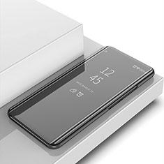 Coque Portefeuille Livre Cuir Miroir Housse Etui Clapet pour Huawei Y6 (2019) Noir