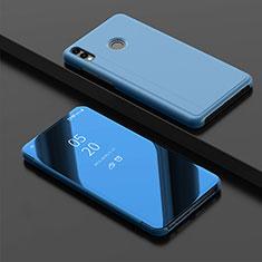 Coque Portefeuille Livre Cuir Miroir Housse Etui Clapet pour Huawei Y9 (2019) Bleu