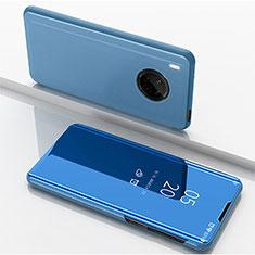 Coque Portefeuille Livre Cuir Miroir Housse Etui Clapet pour Huawei Y9a Bleu