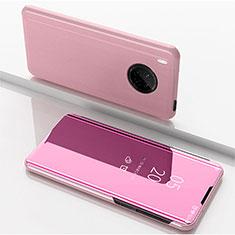 Coque Portefeuille Livre Cuir Miroir Housse Etui Clapet pour Huawei Y9a Or Rose