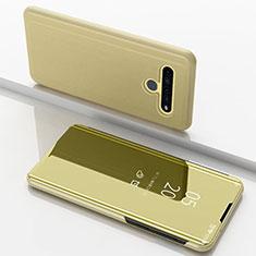 Coque Portefeuille Livre Cuir Miroir Housse Etui Clapet pour LG K61 Or