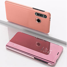 Coque Portefeuille Livre Cuir Miroir Housse Etui Clapet pour Motorola Moto G8 Plus Or Rose