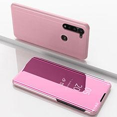 Coque Portefeuille Livre Cuir Miroir Housse Etui Clapet pour Motorola Moto G8 Power Or Rose