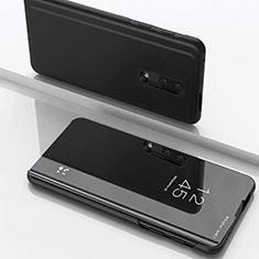 Coque Portefeuille Livre Cuir Miroir Housse Etui Clapet pour OnePlus 7 Noir