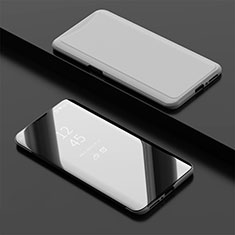 Coque Portefeuille Livre Cuir Miroir Housse Etui Clapet pour Oppo Find X Super Flash Edition Argent