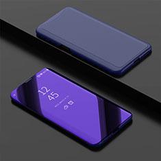 Coque Portefeuille Livre Cuir Miroir Housse Etui Clapet pour Oppo Find X Super Flash Edition Bleu