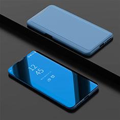 Coque Portefeuille Livre Cuir Miroir Housse Etui Clapet pour Oppo Find X Super Flash Edition Bleu Ciel