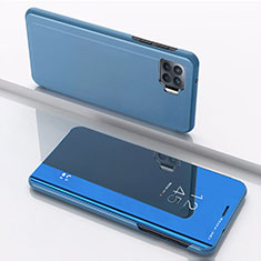 Coque Portefeuille Livre Cuir Miroir Housse Etui Clapet pour Oppo Reno4 Lite Bleu