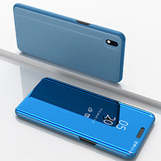 Coque Portefeuille Livre Cuir Miroir Housse Etui Clapet pour Samsung Galaxy A10 Bleu