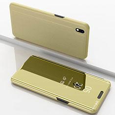 Coque Portefeuille Livre Cuir Miroir Housse Etui Clapet pour Samsung Galaxy A10 Or