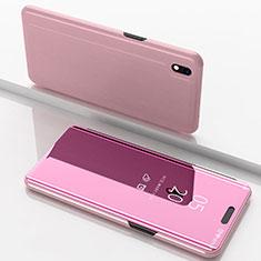 Coque Portefeuille Livre Cuir Miroir Housse Etui Clapet pour Samsung Galaxy A10 Or Rose