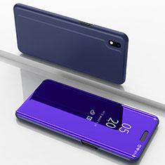 Coque Portefeuille Livre Cuir Miroir Housse Etui Clapet pour Samsung Galaxy A10 Violet