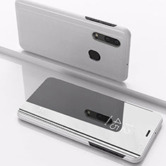 Coque Portefeuille Livre Cuir Miroir Housse Etui Clapet pour Samsung Galaxy A30 Argent