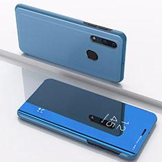 Coque Portefeuille Livre Cuir Miroir Housse Etui Clapet pour Samsung Galaxy A30 Bleu