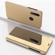 Coque Portefeuille Livre Cuir Miroir Housse Etui Clapet pour Samsung Galaxy A30 Or