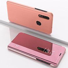 Coque Portefeuille Livre Cuir Miroir Housse Etui Clapet pour Samsung Galaxy A30 Or Rose