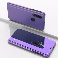 Coque Portefeuille Livre Cuir Miroir Housse Etui Clapet pour Samsung Galaxy A30 Violet