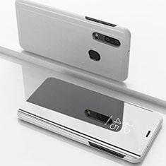 Coque Portefeuille Livre Cuir Miroir Housse Etui Clapet pour Samsung Galaxy A40 Argent