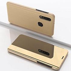 Coque Portefeuille Livre Cuir Miroir Housse Etui Clapet pour Samsung Galaxy A40 Or