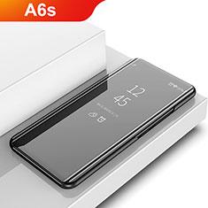 Coque Portefeuille Livre Cuir Miroir Housse Etui Clapet pour Samsung Galaxy A6s Noir