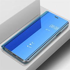 Coque Portefeuille Livre Cuir Miroir Housse Etui Clapet pour Samsung Galaxy A70 Bleu