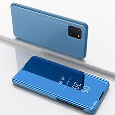 Coque Portefeuille Livre Cuir Miroir Housse Etui Clapet pour Samsung Galaxy A81 Bleu