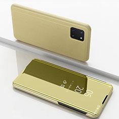 Coque Portefeuille Livre Cuir Miroir Housse Etui Clapet pour Samsung Galaxy A81 Or