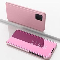 Coque Portefeuille Livre Cuir Miroir Housse Etui Clapet pour Samsung Galaxy A81 Or Rose