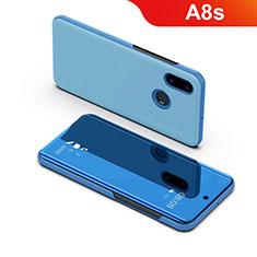 Coque Portefeuille Livre Cuir Miroir Housse Etui Clapet pour Samsung Galaxy A8s SM-G8870 Bleu