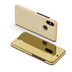 Coque Portefeuille Livre Cuir Miroir Housse Etui Clapet pour Samsung Galaxy A8s SM-G8870 Or