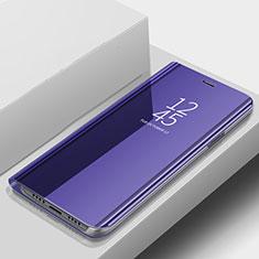 Coque Portefeuille Livre Cuir Miroir Housse Etui Clapet pour Samsung Galaxy A9s Bleu