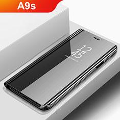 Coque Portefeuille Livre Cuir Miroir Housse Etui Clapet pour Samsung Galaxy A9s Noir
