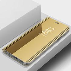 Coque Portefeuille Livre Cuir Miroir Housse Etui Clapet pour Samsung Galaxy A9s Or