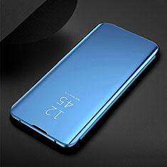 Coque Portefeuille Livre Cuir Miroir Housse Etui Clapet pour Samsung Galaxy M21 Bleu