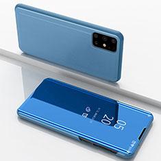 Coque Portefeuille Livre Cuir Miroir Housse Etui Clapet pour Samsung Galaxy M51 Bleu