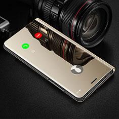 Coque Portefeuille Livre Cuir Miroir Housse Etui Clapet pour Samsung Galaxy Note 10 Plus Or